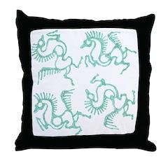 Patina Horses Batik Throw Pillow