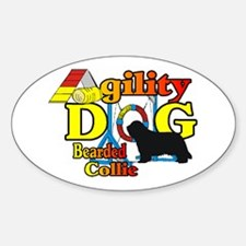Bearded Collie Agility Sticker (Oval 10 pk)