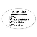 His to Do List Oval Sticker