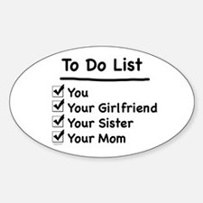 His to Do List Oval Decal
