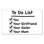 His to Do List Rectangle Sticker
