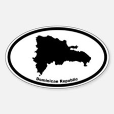 Dominican Republic Outline Oval Bumper Stickers