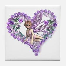 Amethyst Fairy Heart Tile Coaster