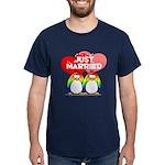 Just Married Rainbow Penguins Dark T-Shirt