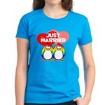 Just Married Rainbow Penguins Women's Dark T-Shirt
