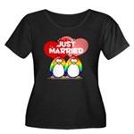 Just Married Rainbow Penguins Women's Plus Size Sc