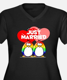 Just Married Rainbow Penguins Women's Plus Size V-
