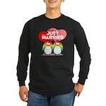 Just Married Rainbow Penguins Long Sleeve Dark T-S