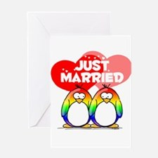 Just Married Rainbow Penguins Greeting Card