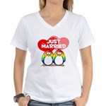 Just Married Rainbow Penguins Women's V-Neck T-Shi