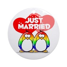 Just Married Rainbow Penguins Ornament (Round)