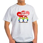 Just Married Rainbow Penguins Light T-Shirt