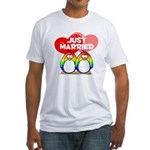 Just Married Rainbow Penguins Fitted T-Shirt