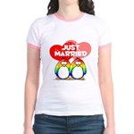 Just Married Rainbow Penguins Jr. Ringer T-Shirt