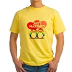 Just Married Rainbow Penguins Yellow T-Shirt