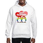 Just Married Rainbow Penguins Hooded Sweatshirt