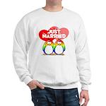 Just Married Rainbow Penguins Sweatshirt