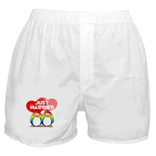 Just Married Rainbow Penguins Boxer Shorts
