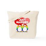 Just Married Rainbow Penguins Tote Bag