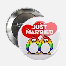 "Just Married Rainbow Penguins 2.25"" Button"