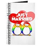 Just Married Rainbow Penguins Journal