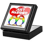 Just Married Rainbow Penguins Keepsake Box
