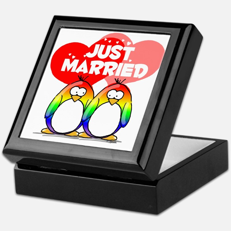 Just Married Rainbow Penguins Keepsake Box