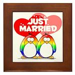 Just Married Rainbow Penguins Framed Tile
