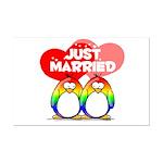 Just Married Rainbow Penguins Mini Poster Print
