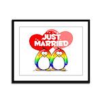 Just Married Rainbow Penguins Framed Panel Print