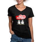Just Married Penguins Women's V-Neck Dark T-Shirt
