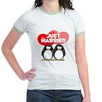 Just Married Penguins Jr. Ringer T-Shirt