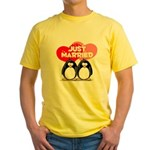 Just Married Penguins Yellow T-Shirt