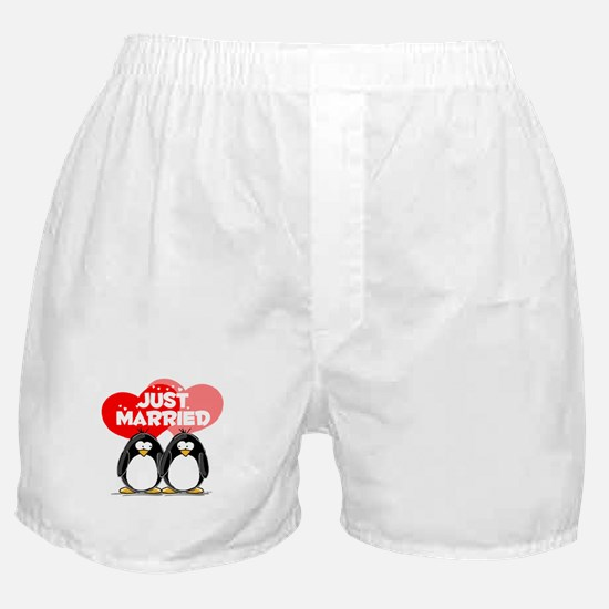 Just Married Penguins Boxer Shorts