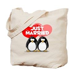 Just Married Penguins Tote Bag