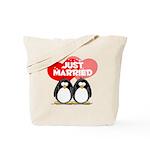 Just Married Penguins Tote Bag