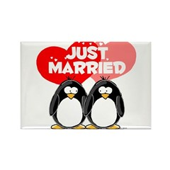Just Married Penguins Rectangle Magnet
