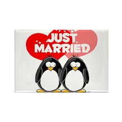 Just Married Penguins Rectangle Magnet
