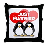Just Married Penguins Throw Pillow