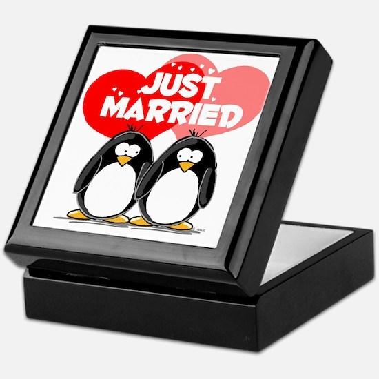 Just Married Penguins Keepsake Box