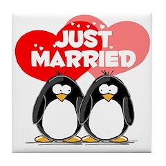 Just Married Penguins Tile Coaster
