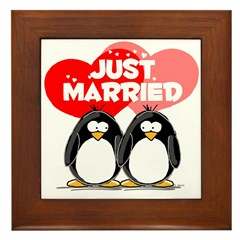 Just Married Penguins Framed Tile