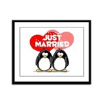 Just Married Penguins Framed Panel Print