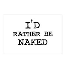 I'd rather be Naked Postcards (Package of 8)