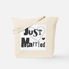 Just Married Black Tote Bag