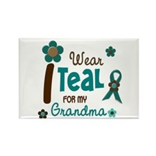 I Wear Teal For My Grandma 12 Rectangle Magnet