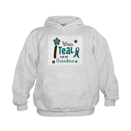 I Wear Teal For My Grandma 12 Kids Hoodie
