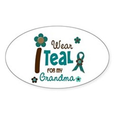 I Wear Teal For My Grandma 12 Oval Decal