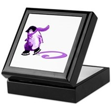 Purple Penguins on Ice Keepsake Box