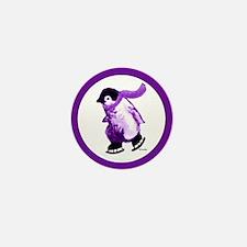 Purple Penguins on Ice Mini Button